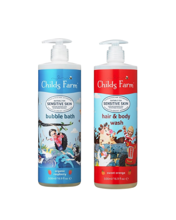 Childs Farm Tractor Bubble Bath And Hair & Body Wash Set 500ml