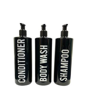 Black Bathroom Bottles 500ml