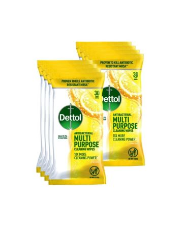 Dettol Antibacterial Multi Purpose Cleaning Wipes Citrus Zest 30s