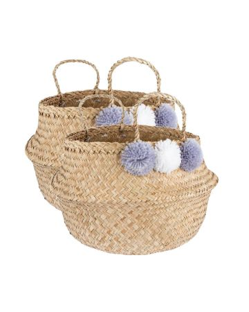 Sass & Belle Seagrass Grey Pom Pom Storage Basket