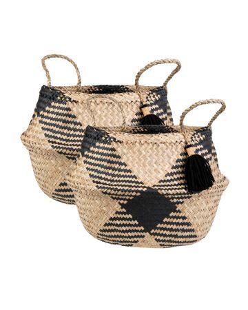Sass & Belle Seagrass Tribal Pattern Tassel Basket
