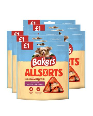 Bakers Allsorts Delicious Meaty Dog Treats 98g (pm £1.00)