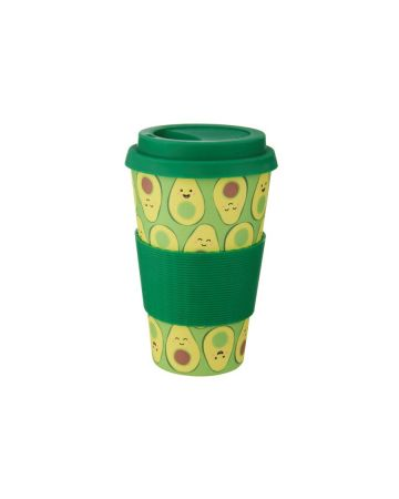 Sass & Belle Happy Avocado Bamboo Coffee Cup 400ml