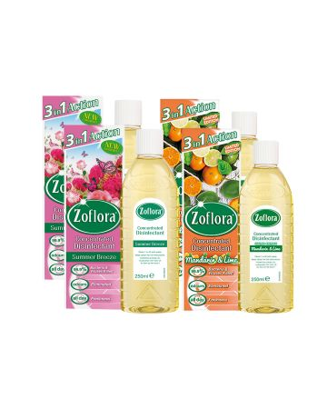 Zoflora Disinfectant Mandarin And Lime & Summer Breeze 250ml - 4 Pack