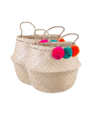 Sass & Belle Seagrass Summer Pom Pom Storage Basket