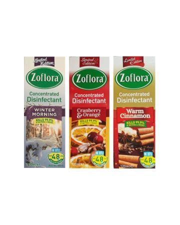 Zoflora Disinfectant Assortment 120ml (Winter Morning, Cranberry & Orange, Warm Cimmamon)