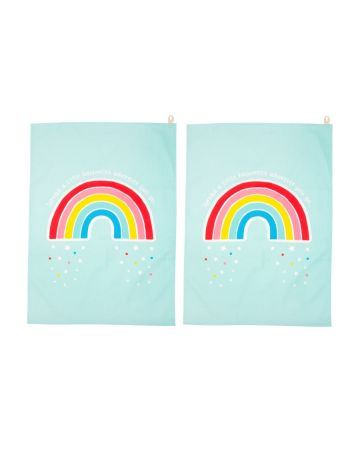 Sass & Belle Set Of 2 Tea Towels - Chasing Rainbows