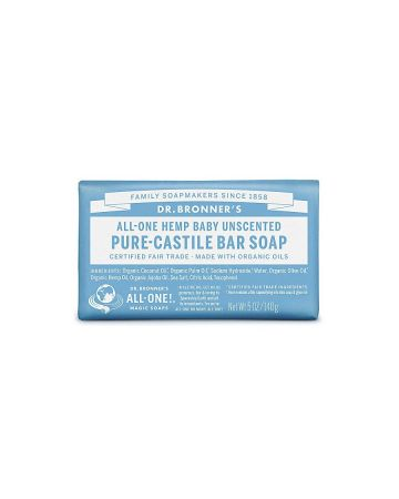 Dr Bronner's Baby Unscented Pure Castille Bar Soap 140g