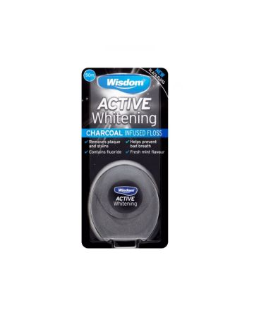 Wisdom Active Whitening Charcoal Infused Floss 50m