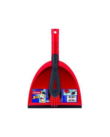 Vileda Red Dust Pan And Brush Set