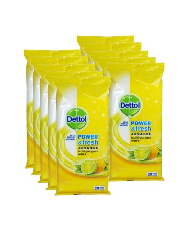 Dettol Power & Fresh Multi-purpose Wipes Citrus Zest 20s