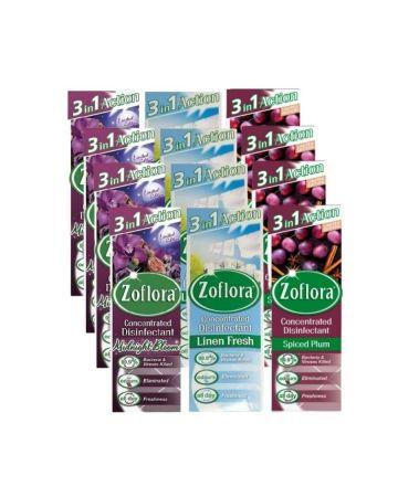 Zoflora Assorted 120ml (midnight Blooms, Linen Fresh, Spiced Plum)