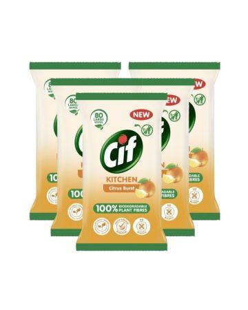 Cif Biodegradable Citrus Burst Kitchen Wipes 80s