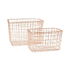 Sass & Belle Copper Wire Mesh Rectangular Baskets (Set of 2)